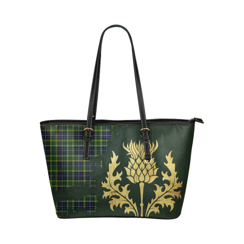 Mackellar Tartan - Thistle Royal Leather Tote Bag