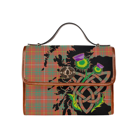 Image of Bruce Ancient Tartan Map & Thistle Waterproof Canvas Handbag| Hot Sale