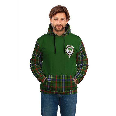 Bisset Clans Tartan All Over Hoodie - Sleeve Color