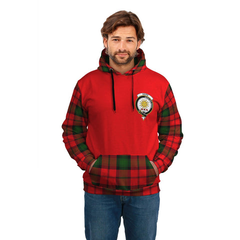 Image of Kerr Clans Tartan All Over Hoodie - Sleeve Color