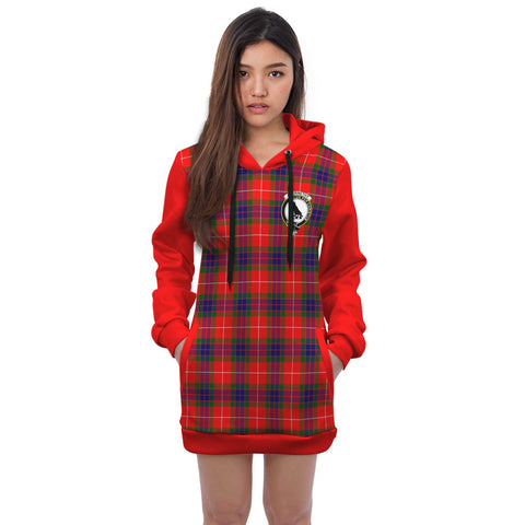 Hoodie Dress - Abernethy Crest Tartan Hooded Dress Sleeve Color