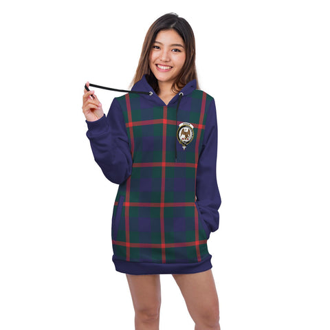 Hoodie Dress - Agnew Crest Tartan Hooded Dress Sleeve Color
