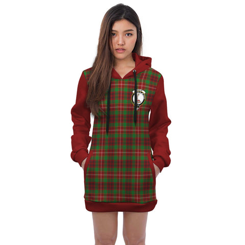 Hoodie Dress - Ainslie Crest Tartan Hooded Dress Sleeve Color