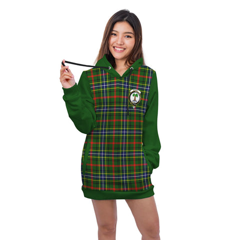 Hoodie Dress - Bisset Crest Tartan Hooded Dress Sleeve Color