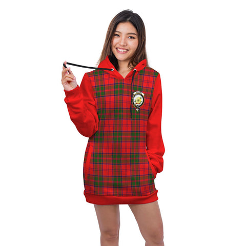 Hoodie Dress - Cairns Crest Tartan Hooded Dress Sleeve Color