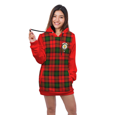 Hoodie Dress - Kerr Crest Tartan Hooded Dress Sleeve Color