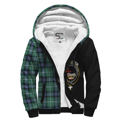 Image of MacDonald of the Isles Hunting Ancient Tartan Clan Crest AOP Sherpa Hoodie Circle  Hj4