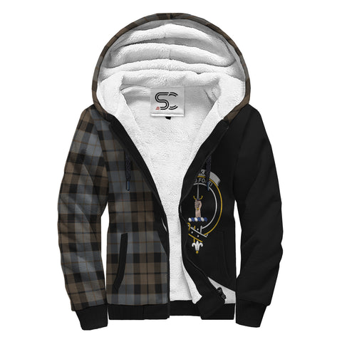 Image of MacKay Weathered Tartan Clan Crest AOP Sherpa Hoodie Circle  Hj4