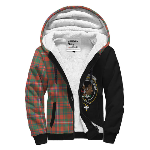 Image of MacKinnon Ancient Tartan Clan Crest AOP Sherpa Hoodie Circle  Hj4