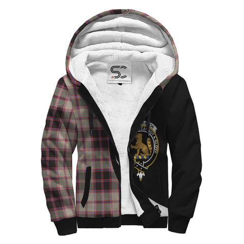 Image of MacPherson Hunting Ancient Tartan Clan Crest AOP Sherpa Hoodie Circle  Hj4