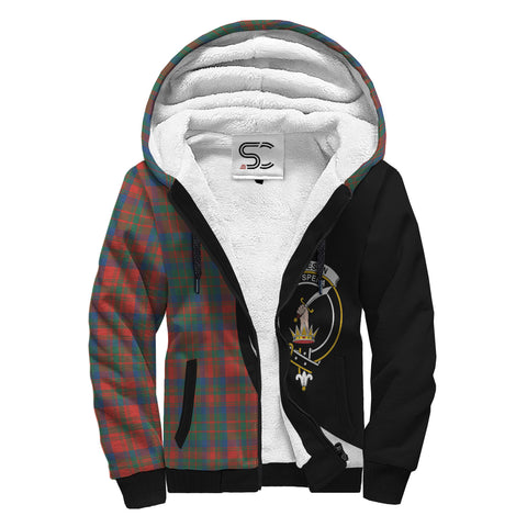 Image of Matheson Ancient Tartan Clan Crest AOP Sherpa Hoodie Circle  Hj4