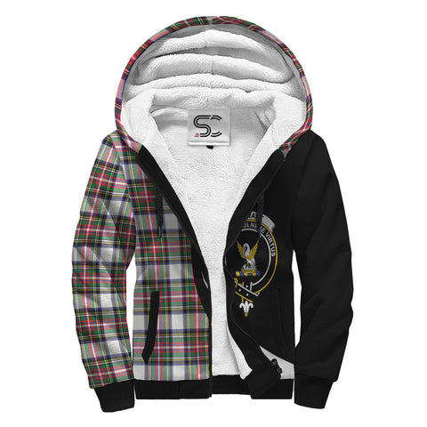Image of Stewart Dress Modern Tartan Clan Crest AOP Sherpa Hoodie Circle  Hj4