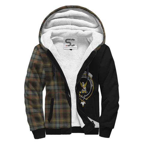 Image of Stewart Hunting Weathered Tartan Clan Crest AOP Sherpa Hoodie Circle  Hj4