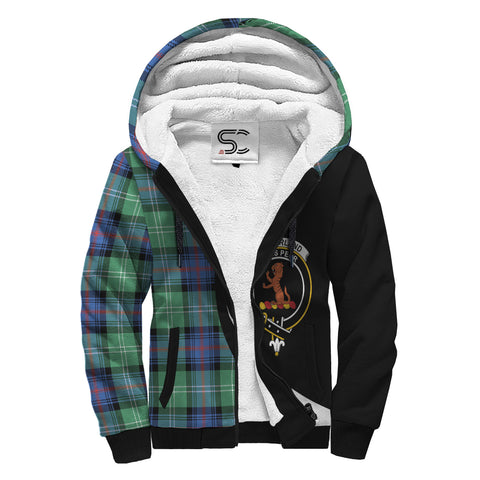 Image of Sutherland Old Ancient Tartan Clan Crest AOP Sherpa Hoodie Circle  Hj4