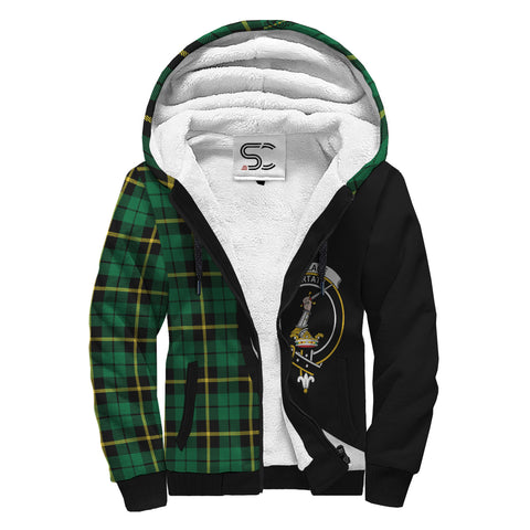 Image of Wallace Hunting - Green Tartan Clan Crest AOP Sherpa Hoodie Circle  Hj4