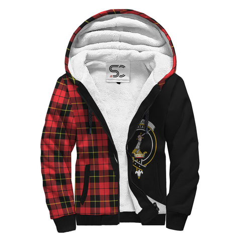 Wallace Hunting - Red Tartan Clan Crest AOP Sherpa Hoodie Circle  Hj4