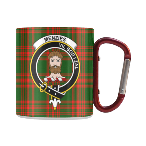 Image of Menzies Green Modern Tartan Mug Classic Insulated - Clan Badge | scottishclans.co