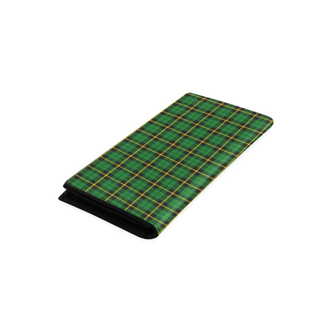 Image of Wallace Hunting - Green Tartan Wallet Women's Leather Thistle A91