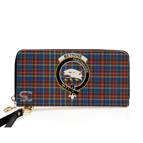 Image of Bethune Crest Tartan Zipper Wallet