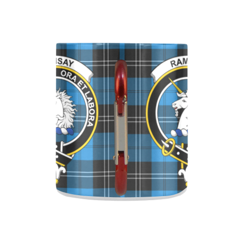 Image of Ramsay Blue Ancient Tartan Mug Classic Insulated - Clan Badge K7