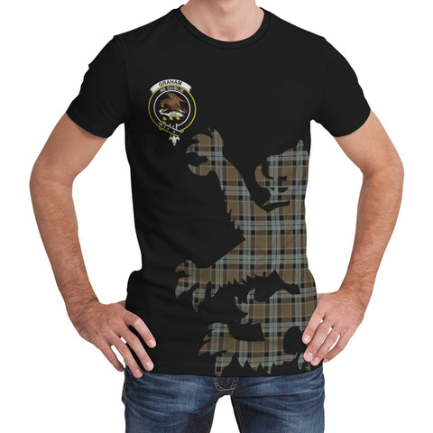 Graham of Menteith Weathered Tartan Clan Crest Lion & Thistle T-Shirt K6
