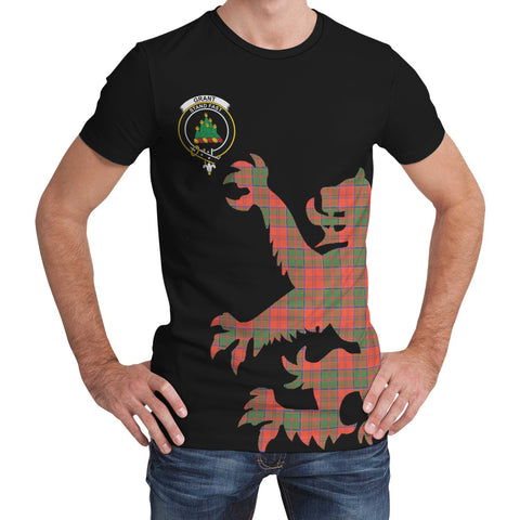 Grant Ancient Tartan Clan Crest Lion & Thistle T-Shirt K6