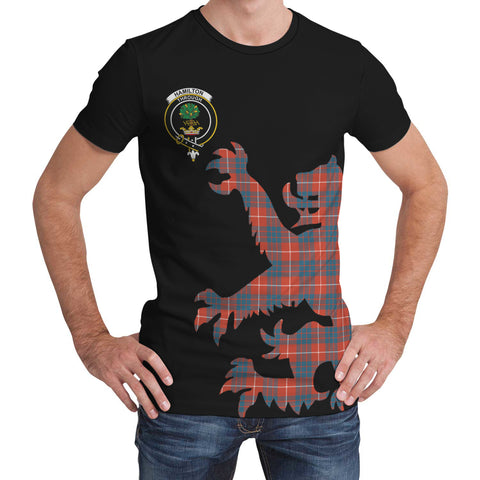 Hamilton Ancient Tartan Clan Crest Lion & Thistle T-Shirt K6