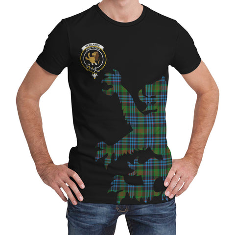 Image of Newlands of Lauriston Tartan Clan Crest Lion & Thistle T-Shirt K6