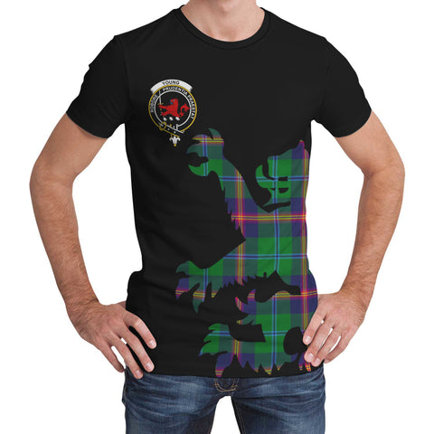 Image of Young Modern Tartan Clan Crest Lion & Thistle T-Shirt K6