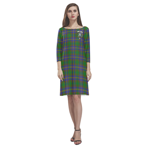 Tartan dresses - Strange of Balkaskie Tartan Dress - Round Neck Dress Clan Badge TH8