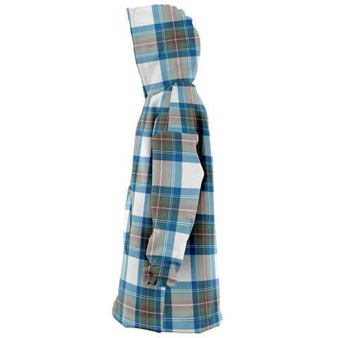 Stewart Muted Blue Snug Hoodie - Unisex Tartan Plaid Left