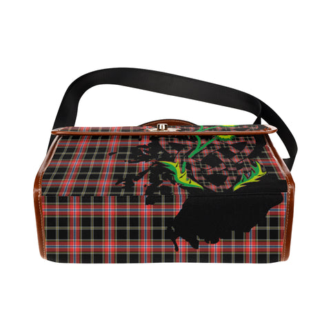 Norwegian Night Tartan Map & Thistle Waterproof Canvas Handbag| Hot Sale