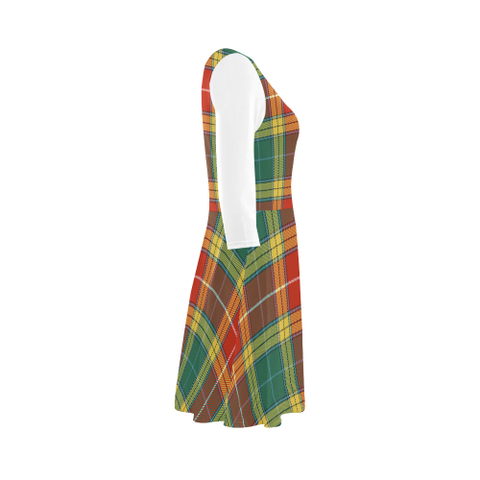 Buchanan Old Sett Tartan 3/4 Sleeve Sundress | Exclusive Over 500 Clans