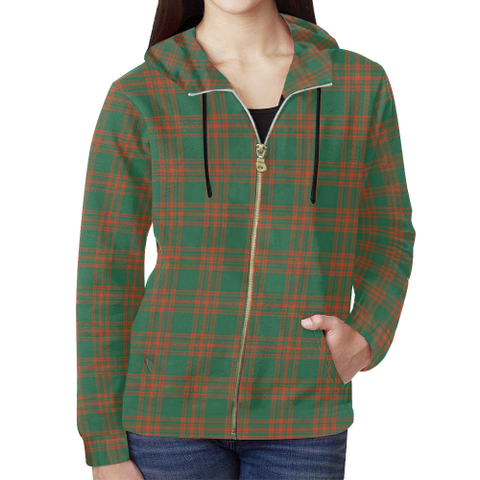 Menzies Green Ancient Tartan Zipped Hoodie | Special Custom Products