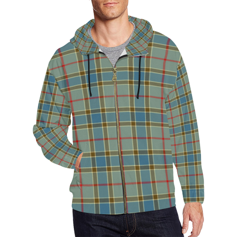 Balfour Blue Tartan Zipped Hoodie | Special Custom Products