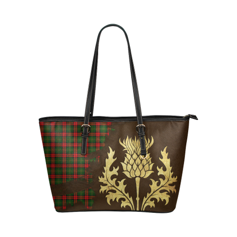 Blackstock Tartan - Thistle Royal Leather Tote Bag