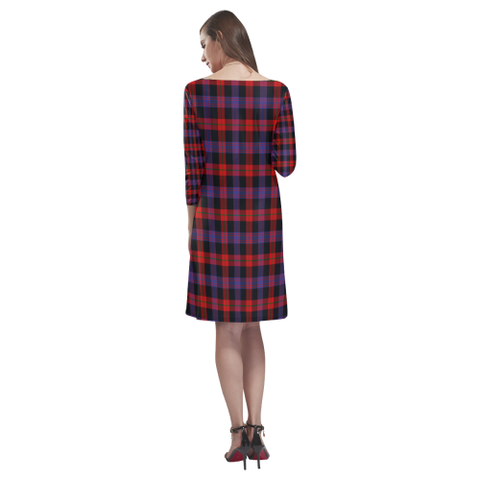 Tartan dresses - Brown Modern Tartan Dress - Round Neck Dress TH8
