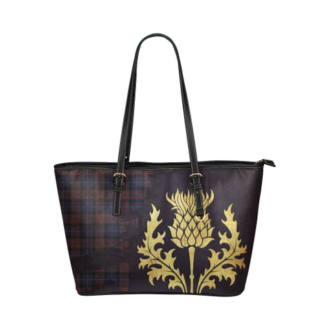 Pride Of Scotland Tartan - Thistle Royal Leather Tote Bag