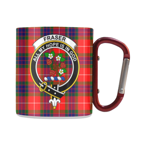 Fraser Of Lovat Tartan Mug Classic Insulated - Clan Badge | scottishclans.co