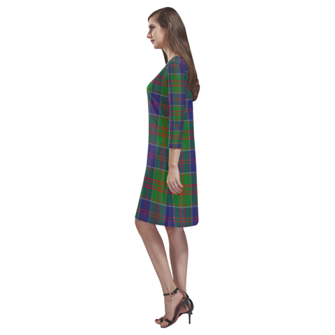 Tartan dresses - Stewart Of Appin Hunting Modern Tartan Dress - Round Neck Dress TH8