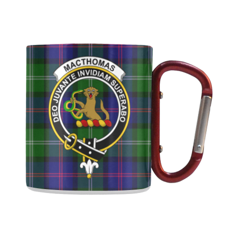 Image of Macthomas Modern Tartan Mug Classic Insulated - Clan Badge | scottishclans.co