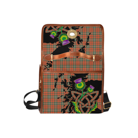 Scott Ancient Tartan Map & Thistle Waterproof Canvas Handbag| Hot Sale