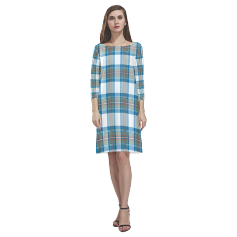 Tartan dresses - Stewart Muted Blue Tartan Dress - Round Neck Dress TH8