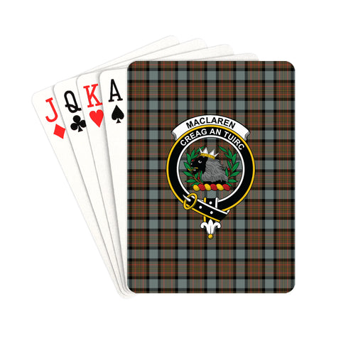 MacLaren Weathered Tartan Clan Badge Playing Card | scottishclans.co