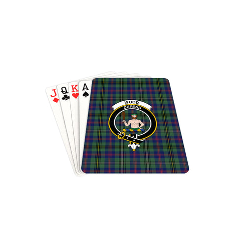 Wood Modern Tartan Clan Badge Playing Card TH8