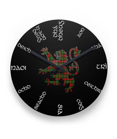 "Blackstock Tartan Wall Clock Lion  11"" Round Wall Clock K7"