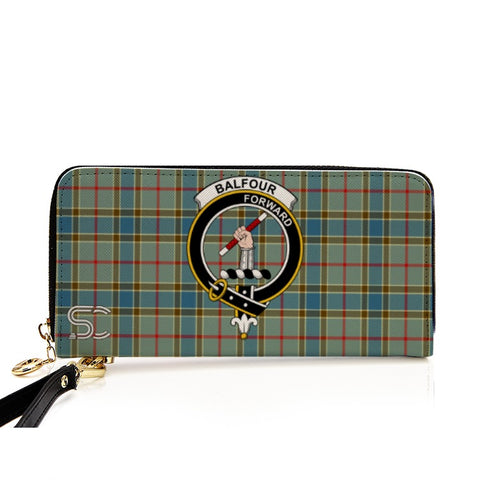 Image of Balfour Blue Crest Tartan Zipper Wallet