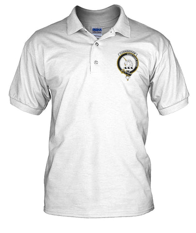 Image of Cunningham Tartan Polo Shirt In Me Clan Badge | Scottishclans.co