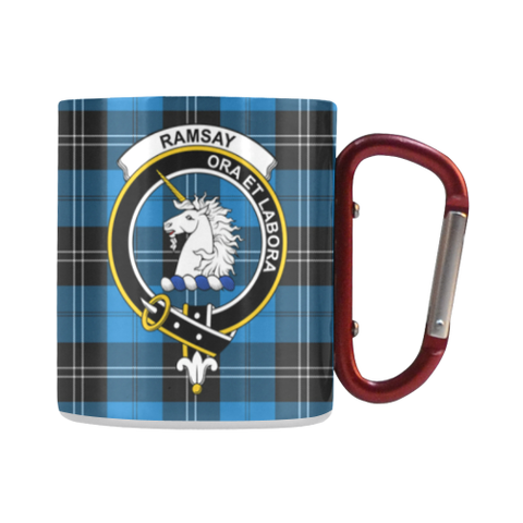 Ramsay Blue Ancient Tartan Mug Classic Insulated - Clan Badge