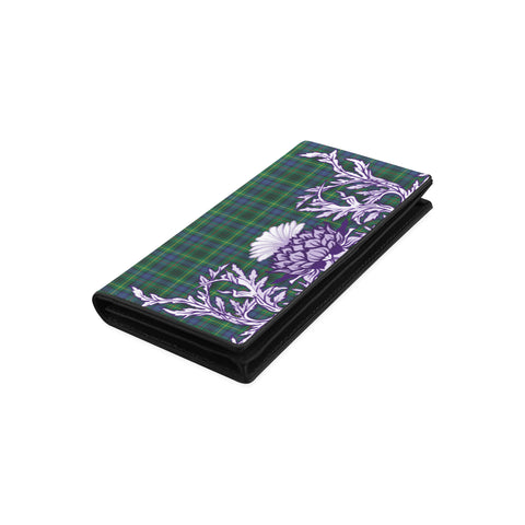 Image of Stewart Hunting Modern Tartan Wallet Women's Leather Thistle A91